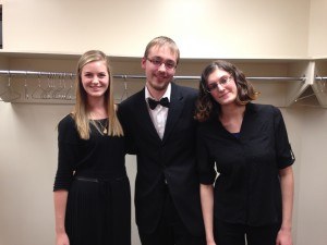 (left to right) Gillian, Thomas and Kelsey, the UVic orchestra flute section for 2014-15