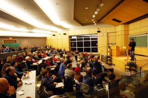 Richard Wagamese talks to a packed house at his public lecture in February