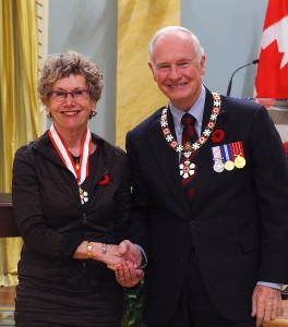 Lorna Croier receives her Order of Canada from Governor General David Johnston (Photo: Sgt Ronald Duchesne, Rideau Hall © 2011 Office of the Secretary to the Governor General of Canada)