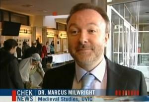 Milwright speaking to the media at 2012's Medieval Workshop