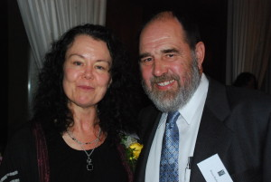 Madeline Sonik with book prize founder Brian Butler