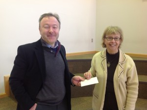 Quiz master Marcus Millwright with runner-up Terry Rodgers