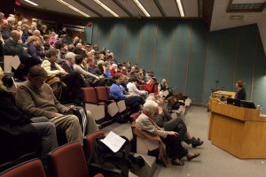 Jo-Ann Roberts holds the crowd's attention at her recent public lecture