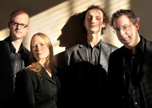 The Tsilumos Ensemble: Kristofer Covlin (left), Joanna Hood, Ajtony Csaba and Dániel Péter Biró (Miles Lowry, photo)