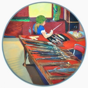 "Glenn Howarth's painting, ""Gun Collector's Daughter"""