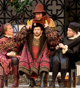 Josh Lovell as Bardolfo (standing) in POV's Falstaff. (photo: David Cooper)