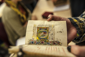 One of Kemp's students examines a medieval text (photo: Aurora Allen)
