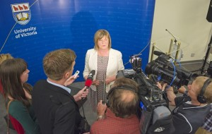 Chancellor-designate Shelagh Rogers meets the media. Credit: UVic Photo Services