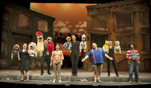 Jenny Cassidy (far right, with yellow & blue bears) in Avenue Q (photo: Emily Cooper)