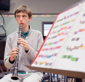 Daniel Davenport in band class (Photo: Travis Paterson, Victoria News)