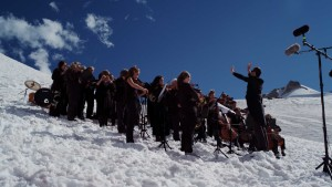 The volunteer orchestra on the glacier (photo: Pat Morrow)