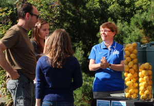Dean Blackstone greeting new students in 2013