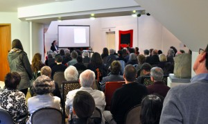 Eva Baboula speaks to a packed house at the curator's talk in April