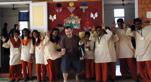 Theatre PhD Matthew Gusul (centre) at the field school in India
