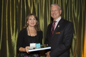 Patricia Kostek with Chancellor Murray Farmer at the Long Service Awards (Photo Services)