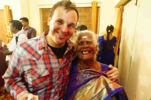 Gus and his newly adopted Indian Grandmother Jayamma (photo: Blair Moro)
