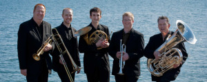 MacInnes (second from left) and Dowling (far right) in the Pinnacle Brass Quintet