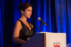 Mercedes speaking at the Distinguished Alumni Awards (UVic Photo Services)