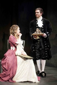 Constanze (Samantha Lynch) is tempted by Salieri (Jenson Kerr) in Phoenix Theatre's Amadeus (photo: David Lowes)