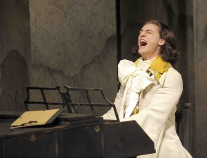 Aidan Correia plays Mozart in Phoenix Theatre's Amadeus (photo: David Lowes)