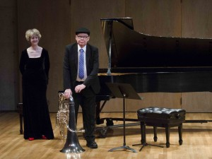 Gene Dowling takes a bow at his final School of Music concert, alongside accompanist Charlotte Hale (photo: Robert Davy)