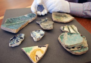 12th-14th century glazed ceramic shards from Syria (Balis and Damascus), most from the collection of Erica Dodd.