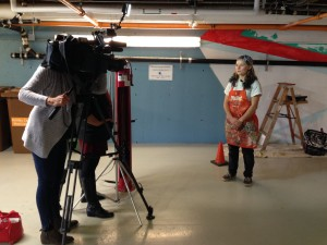 McLeod being interviewed by Shaw TV during Sustainability Week