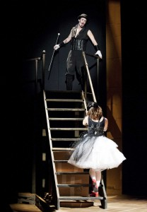 Mack the Knife (Lindsay Robinson) flees from Polly (Pascal Lamothe-Kipnes) in Phoenix's The Threepenny Opera (photo: David Lowes)