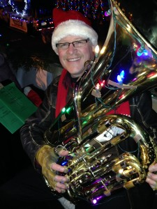 Paul Beachesne on UVic's TubaChristmas float