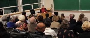 Maria Tippett speaks to a full house