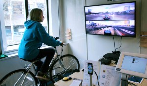 A bike patched into a gaming system demonstrates the  flexibility in digital teaching