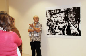 Visiting professor Michael Nicol Yahgulannas critiques student art