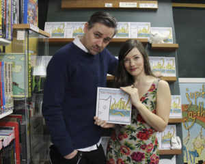 Gareth and Bronwyn Gaudin with their new book in Legends Comics (photo: Wendy Nesbitt)