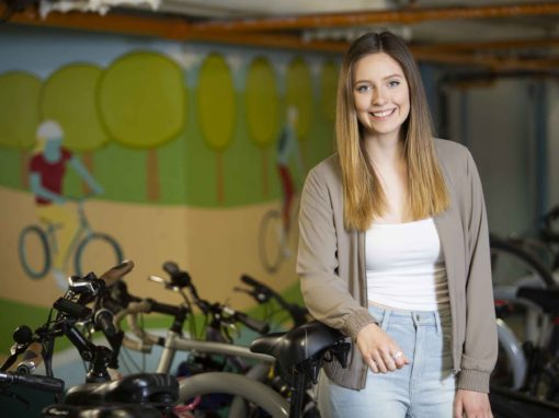 Visual Arts student expands campus cycling mural